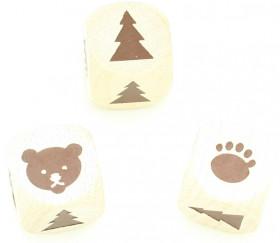 Dé en bois ours patte sapin