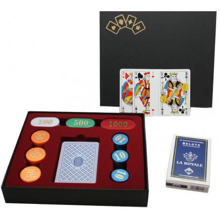 Coffret Cadeau Belote : 90 jetons nacrés + jeu de cartes