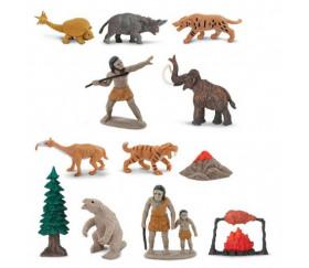 Préhistoire : set 12 figurines livré avec tube de rangement