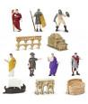Epoque romaine : set 12 figurines livré avec tube de rangement