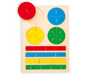 Puzzle fractions  et portions en bois