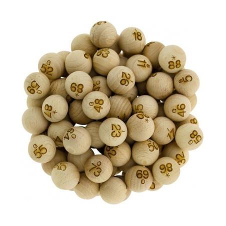 90 Boules en bois tirage loto 22 mm