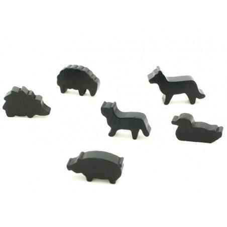 6 Pions animaux noirs en bois pour jeux