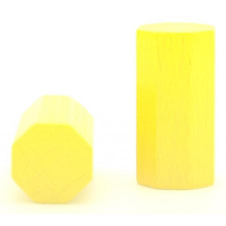 pion octogone jaune 15 x 30 mm en bois pour jeu