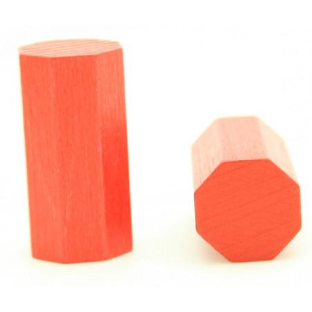 pion octogone rouge 15 x 30 mm en bois pour jeu