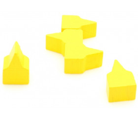 10 Pions maisons toits pointus jaune 20x13x10 mm