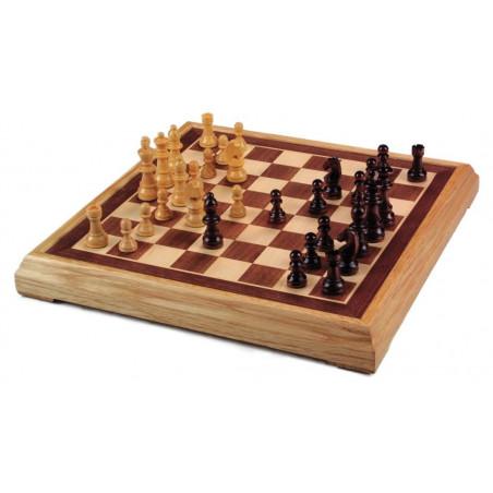 Jeu d'échecs bois marqueté 40 cm et pions taille 4