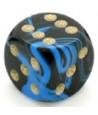 Dé à jouer marbré bleu noir 16 mm