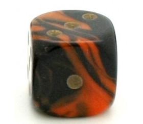 Dé à jouer marbré orange/noir 16 mm