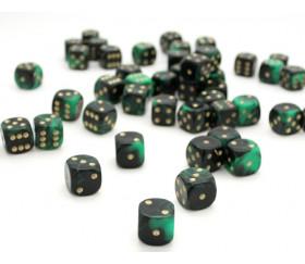 Dé à jouer marbré vert/noir 16 mm
