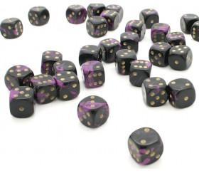 Dé à jouer marbré violet/noir 16 mm