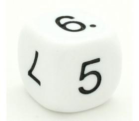 Dé chiffres 5 6 7 8 9 10. Taille 16 mm en blanc.