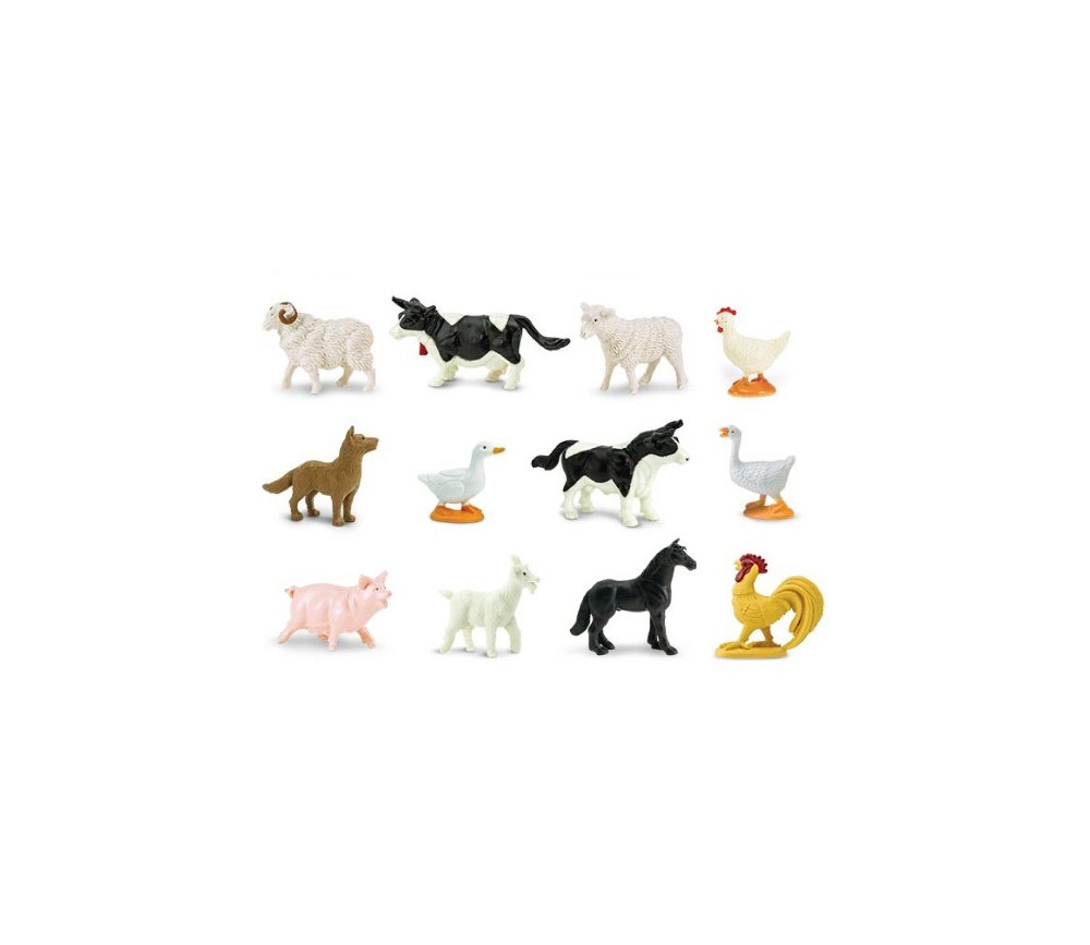 12 animaux de la ferme jouets en plastique pour jouer en. Black Bedroom Furniture Sets. Home Design Ideas