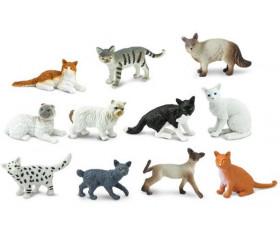 11 figurines chat dans un tube de rangement