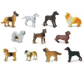 11 figurines chiens dans un tube de rangement