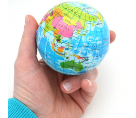 Balle globe terrestre 7.5 cm type antistress