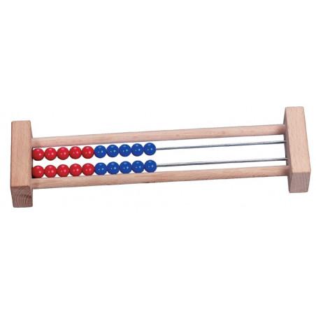 Boulier bois 2 rangées rouge bleu 22.3 x 6 x 2.9 cm