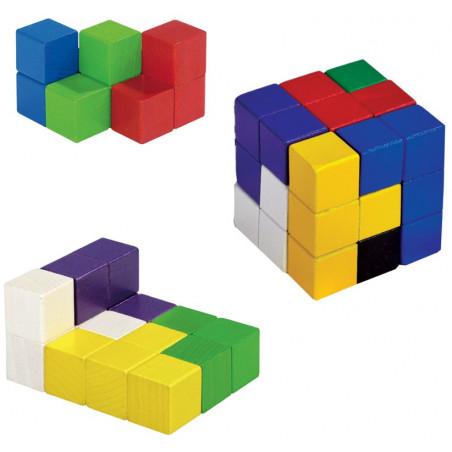Cube SOMA 6 cm composé de cubes 2 x 2 cm en bois