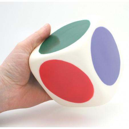 Dé géant 10 cm 6 couleurs en plastique dur