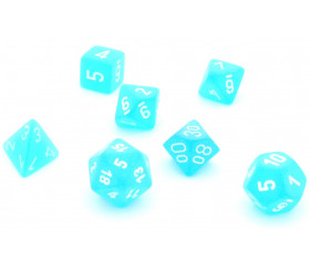 Set 7 dés multi-faces effet givré bleu turquoise