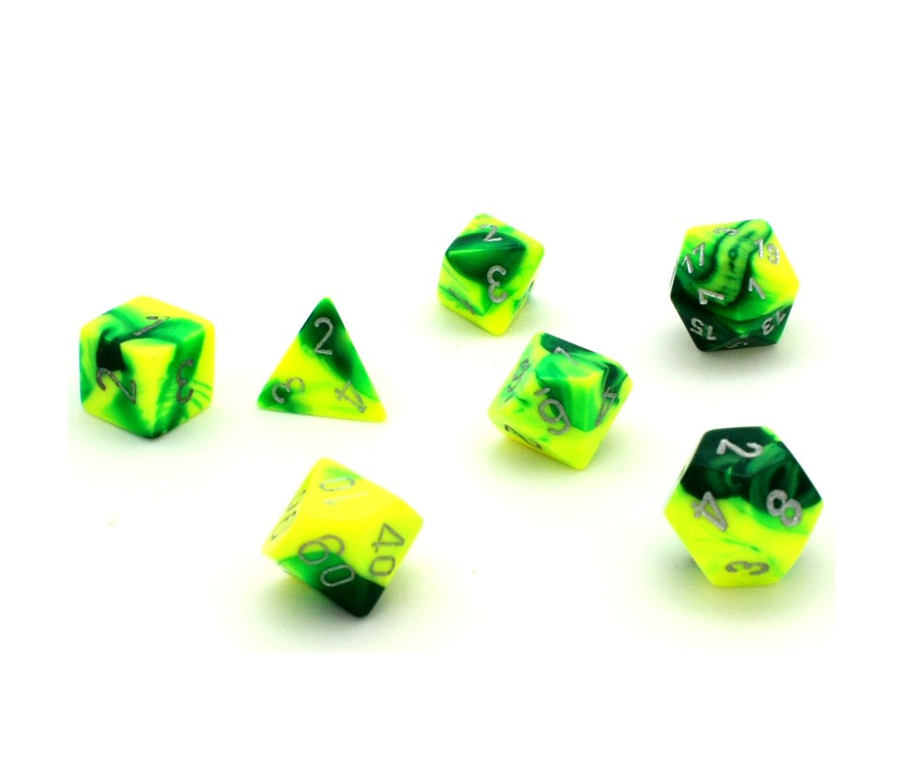 Set 7 dés multi-faces gemini jaune vert