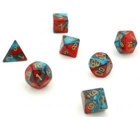 Set 7 dés multi-faces effet rouge et bleu gemini