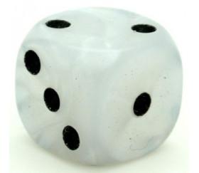Dé à jouer blanc marbré 16 mm