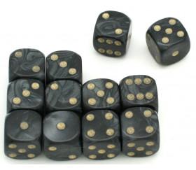 Dé à jouer nacré noir de couleur 16 mm