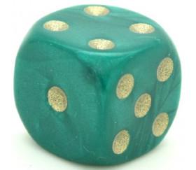 Dé à jouer nacré vert de couleur 16 mm