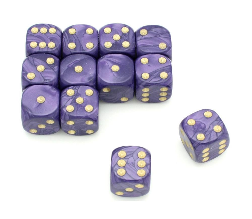 Dé à jouer nacré violet de couleur 16 mm