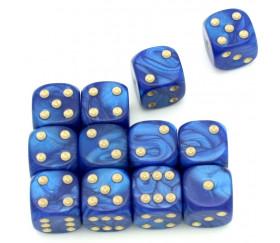 Dé à jouer nacré bleu de couleur 16 mm