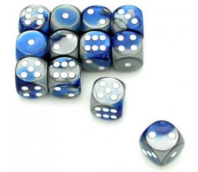 Dé effet argentés bleu 16 mm gemini