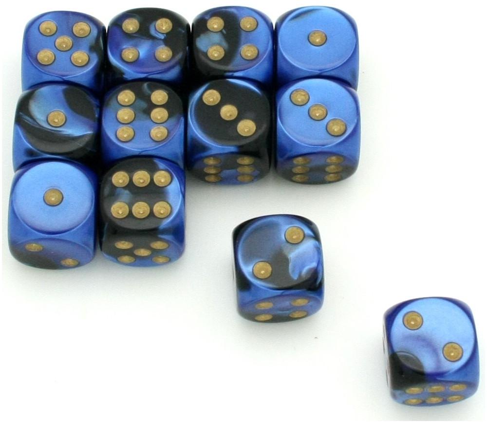 Dé effet bleu noir 16 mm gemini