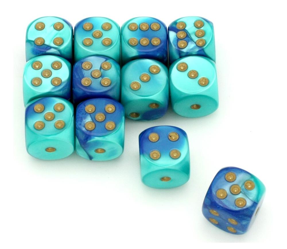 Dé effet turquoise bleu 16 mm gemini