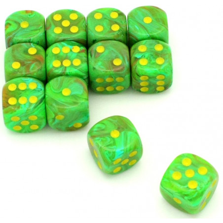 Dé vortex Vert Slime 16 mm points jaunes