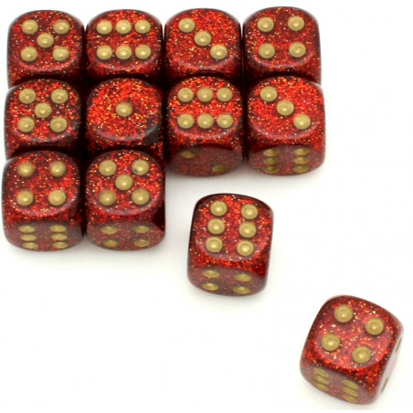 Dé rouge pailletté chessex 16 mm points dorés