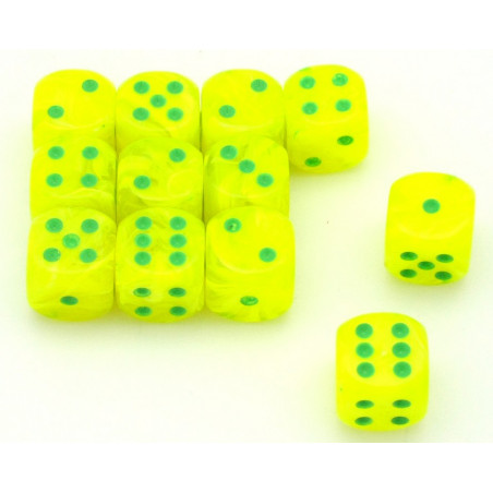 Dé RIO fluo jaune 16 mm points verts