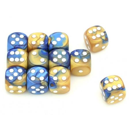 Dé effet doré et bleu 16 mm gemini