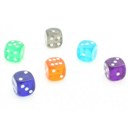Dé translucide 15 mm pour jeu vert, orange, rouge, violet ou turquoise