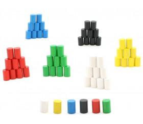 10 mini cylindres 10x15 mm en bois coloré pour jeu