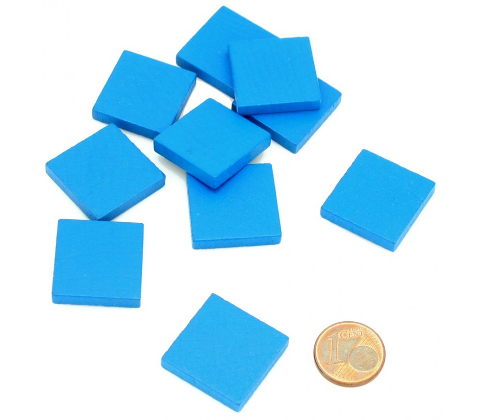 Carré plat 20x20x4 mm en bois bleu pour jeux 2 cm de côté