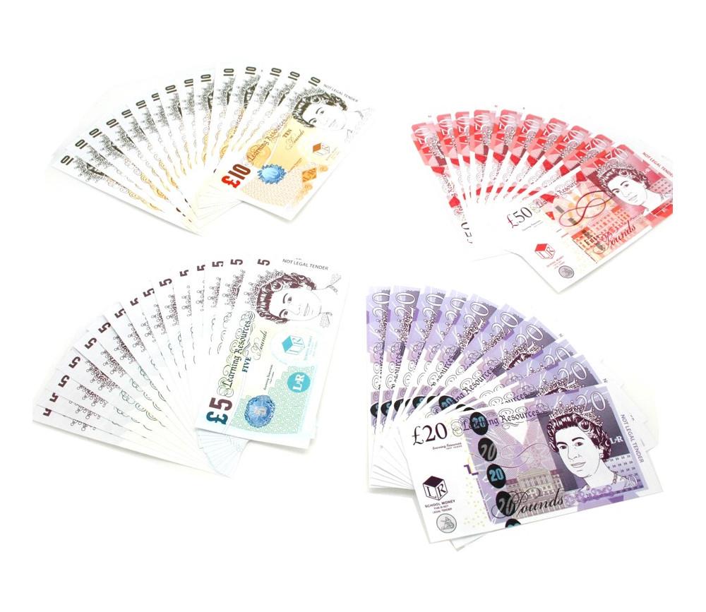 50 billets argent UK - LIVRES sterling anglais monnaie factice