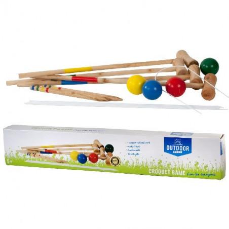 Jeu de croquet adulte/enfant 80 cm en bois 4 joueurs