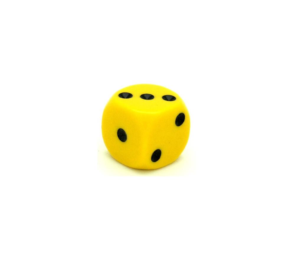 Dé à jouer jaune 16 mm points de 1 à 6 pour jeu de société