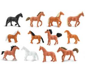 12 figurines chevaux dans un tube de rangement