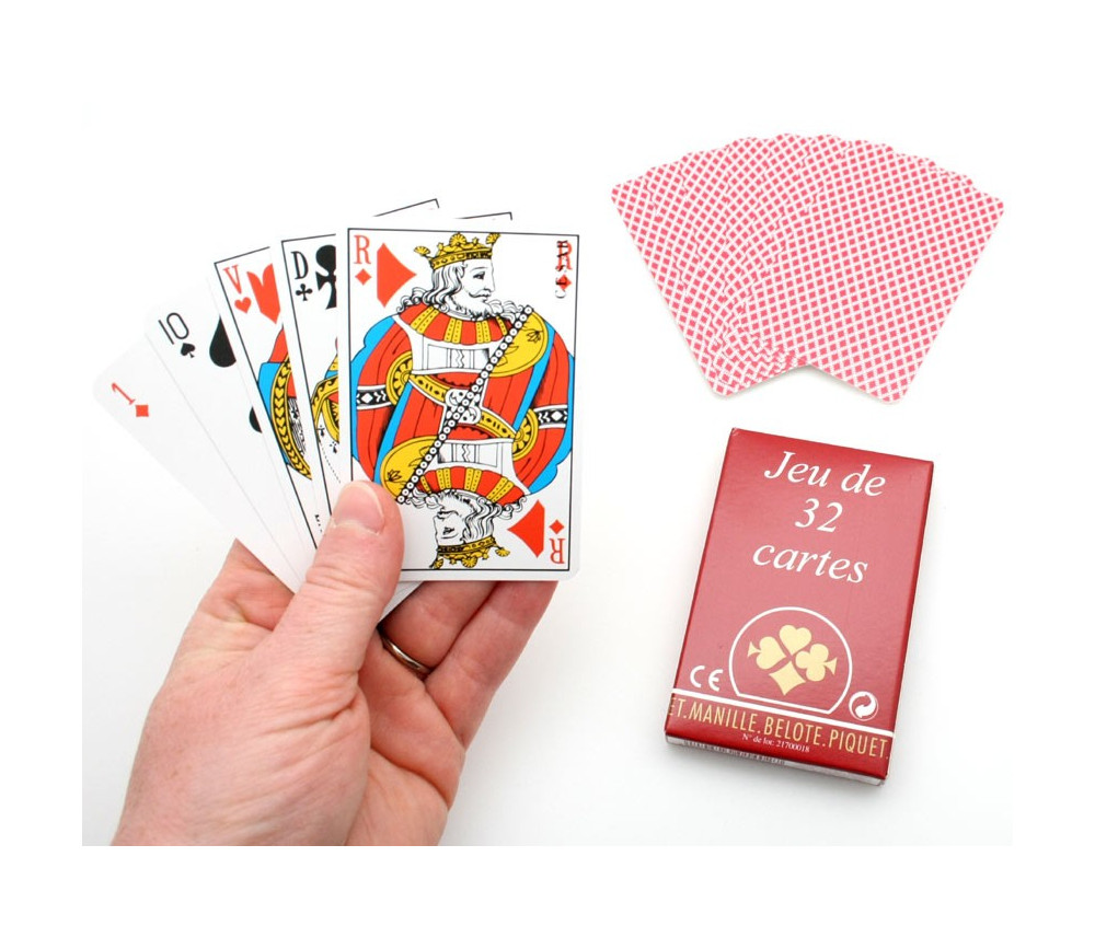 Jeu de 32 cartes à jouer Belote standard. Achat en ligne ...