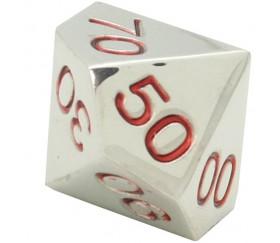 Dé 10 faces dizaines en métal argenté 00 à 90 chiffres rouges 20 mm
