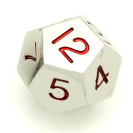 Dé 12 faces en métal argenté 1 à 12 chiffres rouges 20 mm