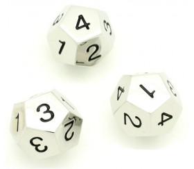 D4 - Dé 12 faces en métal argenté 1 à 4 chiffres noirs 20 mm