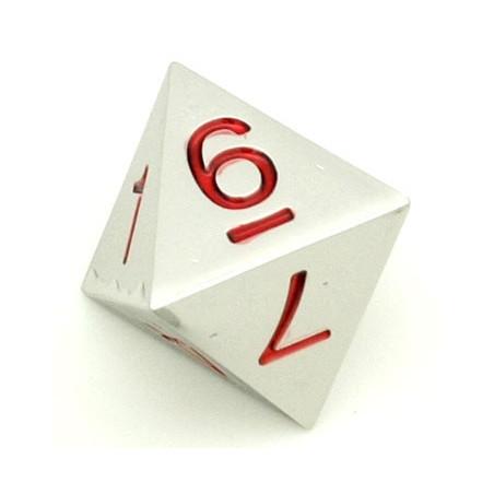 Dé 8 faces en métal argenté 1 à 8 chiffres rouges 20 mm
